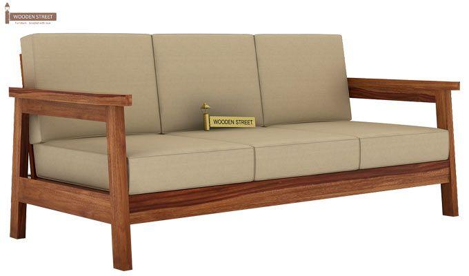 Conan 3 Seater Wooden Sofa (Teak Finish)-1