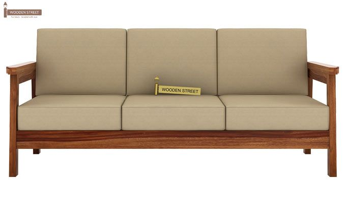 Conan 3 Seater Wooden Sofa (Teak Finish)-2