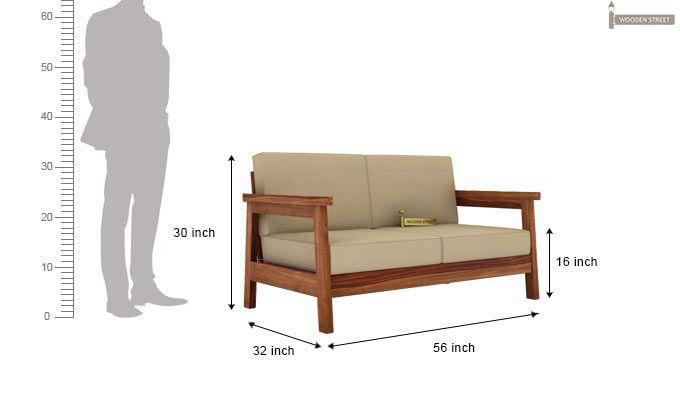 Conan 2 Seater Wooden Sofa (Teak Finish)-3