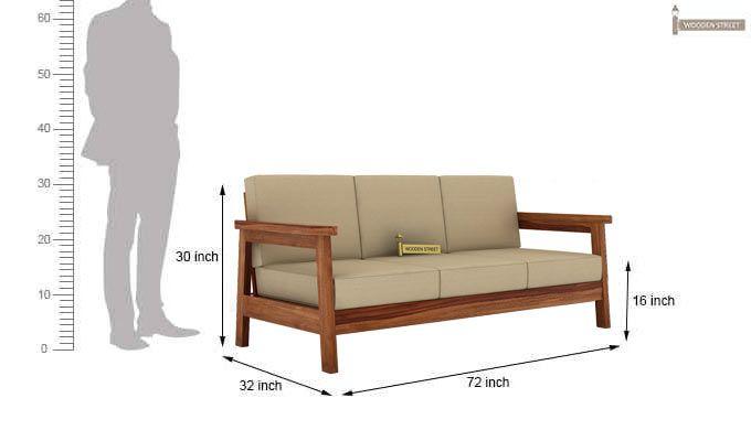 Conan 3 Seater Wooden Sofa (Teak Finish)-3