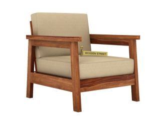 Conan 1 Seater Wooden Sofa (Teak Finish)