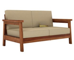 Conan 2 Seater Wooden Sofa (Teak Finish)