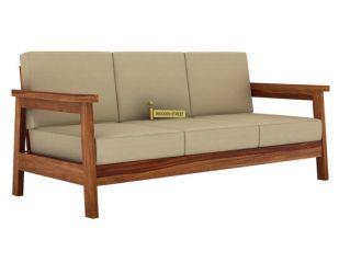 Conan 3 Seater Wooden Sofa (Teak Finish)