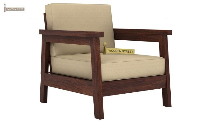 Conan 1 Seater Wooden Sofa (Walnut Finish)-1