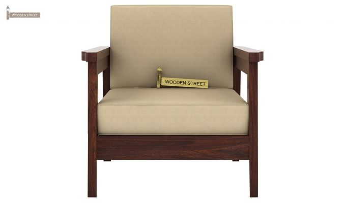 Conan 1 Seater Wooden Sofa (Walnut Finish)-2