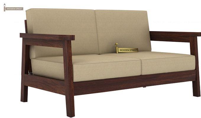 Conan 2 Seater Wooden Sofa (Walnut Finish)-1