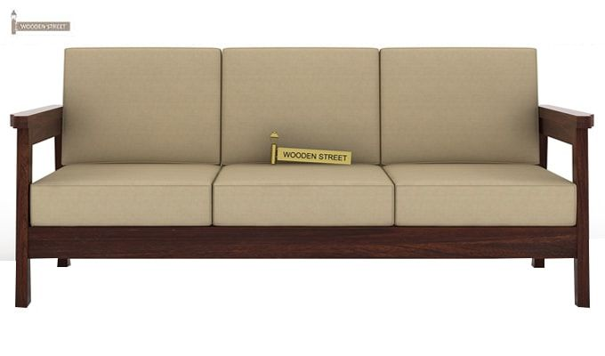 Conan 3 Seater Wooden Sofa (Walnut Finish)-2