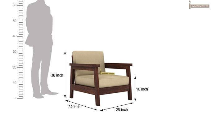 Conan 1 Seater Wooden Sofa (Walnut Finish)-3