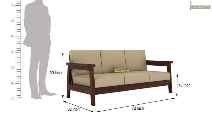 Conan 3 Seater Wooden Sofa (Walnut Finish)-3