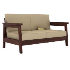 Conan 2 Seater Wooden Sofa (Walnut Finish)