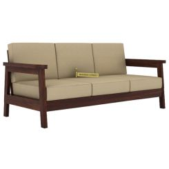 Conan 3 Seater Wooden Sofa (Walnut Finish)