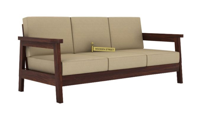 Conan 3 Seater Wooden Sofa (Walnut Finish)-1