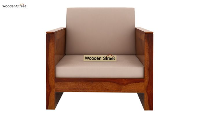 Corsica 1 Seater Wooden Sofa (Honey Finish)-2