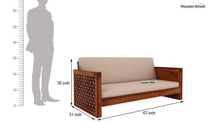 Corsica 3 Seater Wooden Sofa (Honey Finish)-4