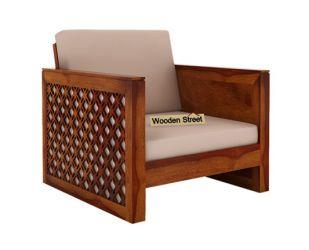 Corsica 1 Seater Wooden Sofa (Honey Finish)