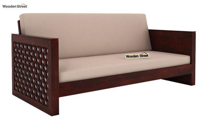 Corsica 3 Seater Wooden Sofa (Mahogany Finish)-1