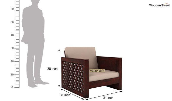 Corsica 1 Seater Wooden Sofa (Mahogany Finish)-4
