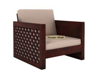 Corsica 1 Seater Wooden Sofa (Mahogany Finish)