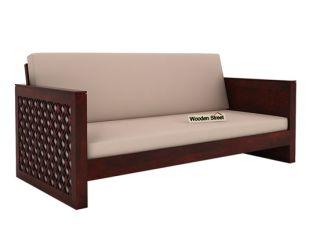 Corsica 3 Seater Wooden Sofa (Mahogany Finish)