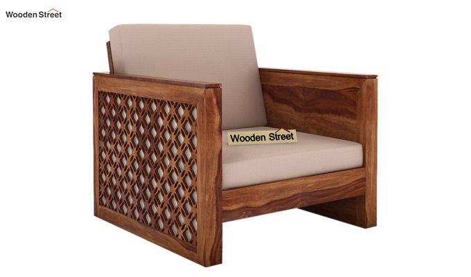 Corsica 1 Seater Wooden Sofa (Teak Finish)-1