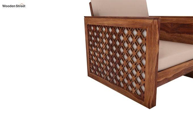 Corsica 1 Seater Wooden Sofa (Teak Finish)-3