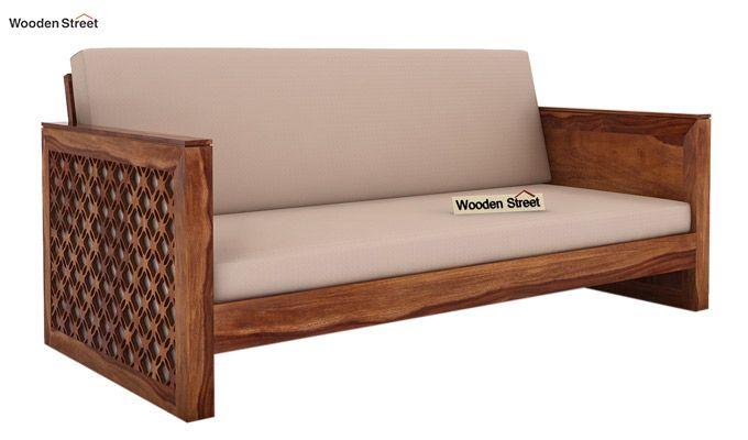 Corsica 3 Seater Wooden Sofa (Teak Finish)-1