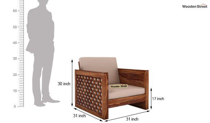 Corsica 1 Seater Wooden Sofa (Teak Finish)-4