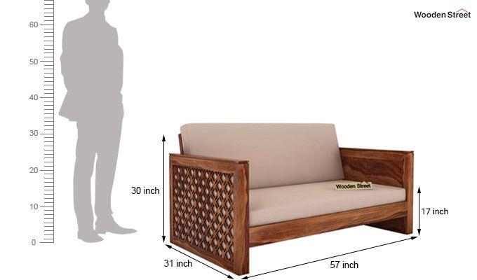 Corsica 2 Seater Wooden Sofa (Teak Finish)-4