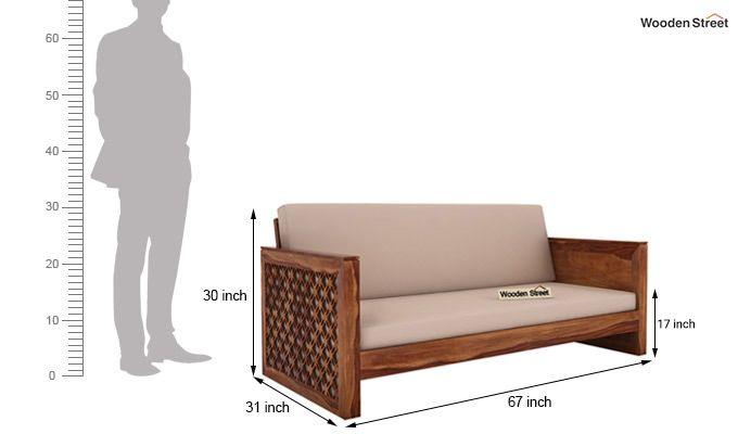 Corsica 3 Seater Wooden Sofa (Teak Finish)-4