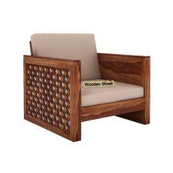 Corsica 1 Seater Wooden Sofa (Teak Finish)
