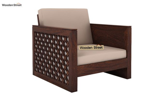 Corsica 1 Seater Wooden Sofa (Walnut Finish)-1