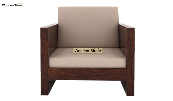 Corsica 1 Seater Wooden Sofa (Walnut Finish)-2