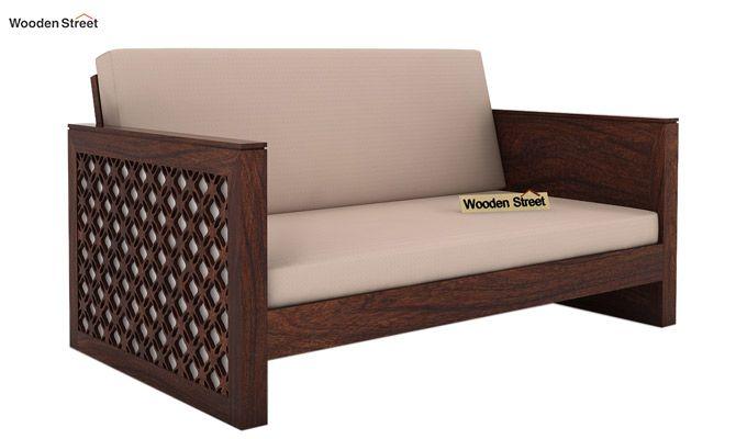 Corsica 2 Seater Wooden Sofa (Walnut Finish)-1