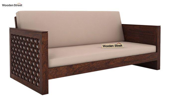 Corsica 3 Seater Wooden Sofa (Walnut Finish)-2
