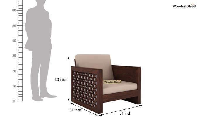 Corsica 1 Seater Wooden Sofa (Walnut Finish)-4