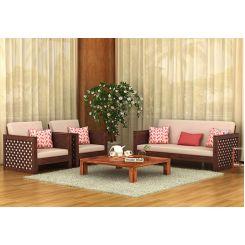 Corsica 3+1+1 Seater Wooden Sofa (Walnut Finish)