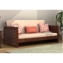 Corsica 3 Seater Wooden Sofa (Walnut Finish)