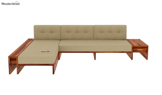 Cortez L-Shaped Wooden Sofa (Honey Finish)-3