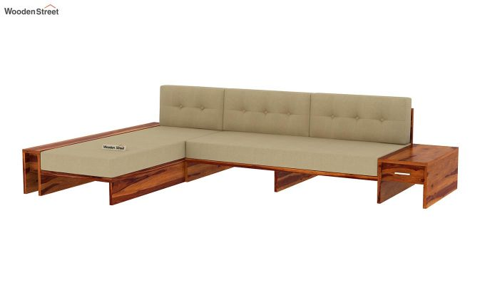 Cortez L-Shaped Wooden Sofa (Honey Finish)-4