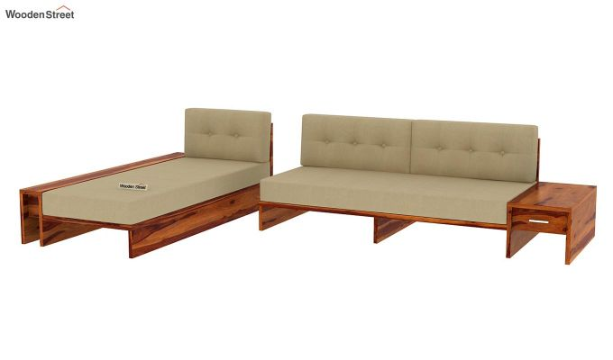 Cortez L-Shaped Wooden Sofa (Honey Finish)-5