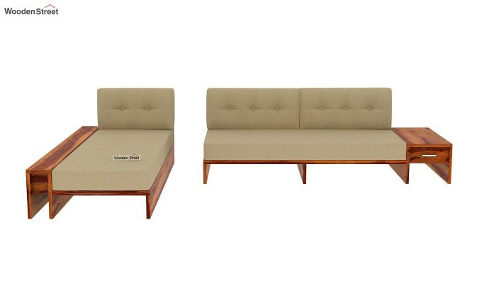 Cortez L-Shaped Wooden Sofa (Honey Finish)-6