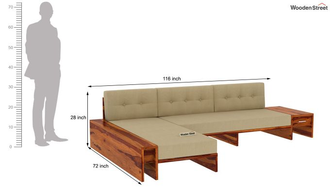 Cortez L-Shaped Wooden Sofa (Honey Finish)-13