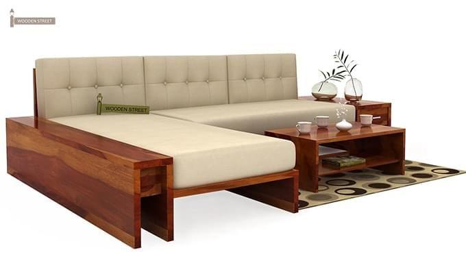 Cortez L-Shaped Wooden Sofa (Honey Finish)-1