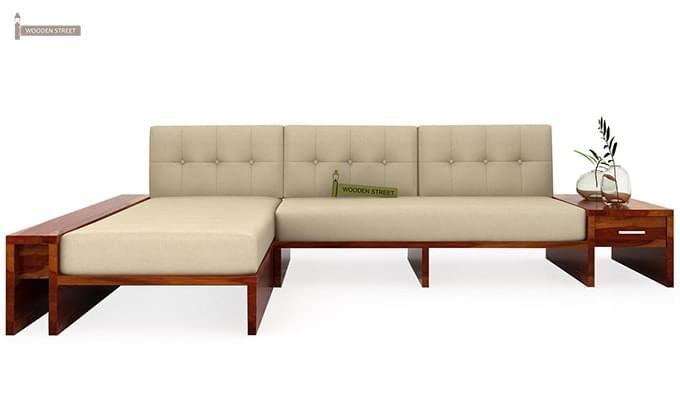 Cortez L-Shaped Wooden Sofa (Honey Finish)-2