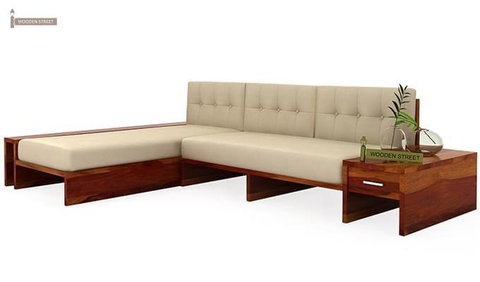Cortez L-Shaped Wooden Sofa (Honey Finish)-3