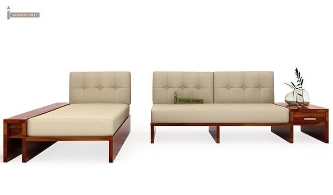 Cortez L-Shaped Wooden Sofa (Honey Finish)-4