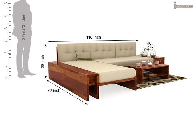 Cortez L-Shaped Wooden Sofa (Honey Finish)-6