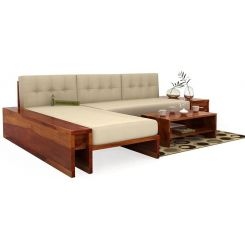 Cortez L-Shaped Wooden Sofa (Honey Finish)