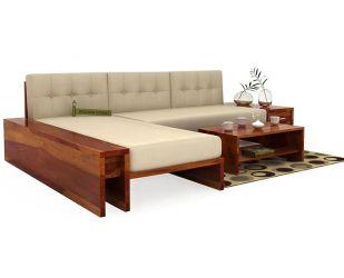 Cortez L-Shaped Wooden Sofa (Honey Finish)