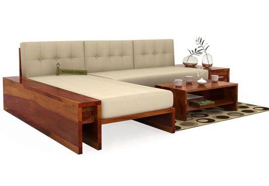 Cortez L-Shaped Wooden Sofa Grey